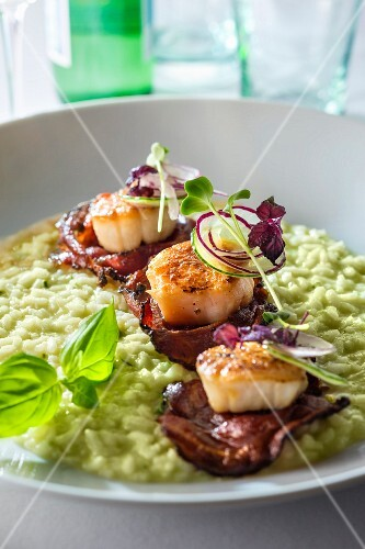 Risotto with scallops and bacon