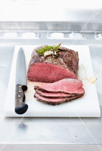 Roast beef cut into thin slices