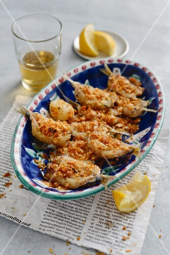 Fried, breaded sardines (Portugal)