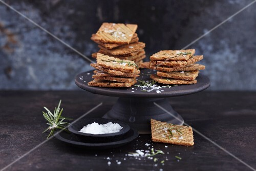 Quinoa biscuits with rosemary and coarse sea salt