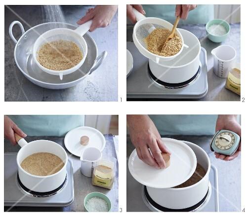 amaranth kochen und quellen lassen bild kaufen