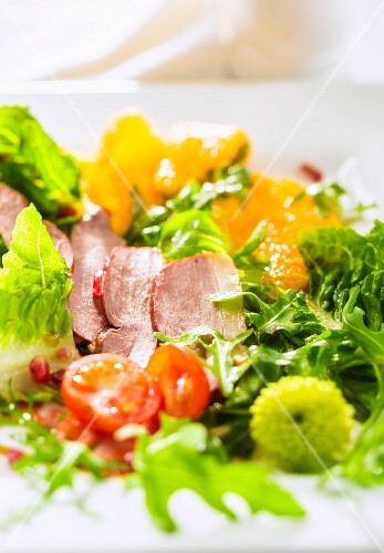 Colourful salad with duck breast