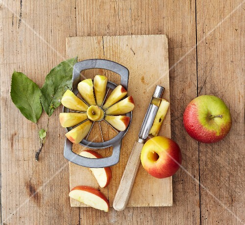 An apple cutter and corer