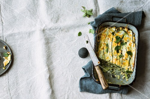 Courgette lasagne with tofu and cream cheese