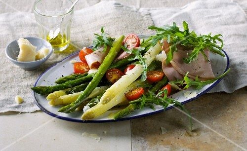 Asparagus with mortadella and Parmesan