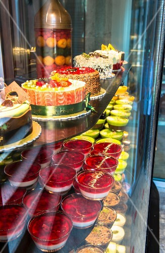 A display in a Turkish dessert and cake shop