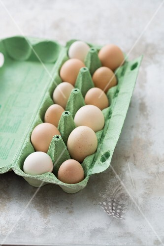Chicken eggs in an egg box