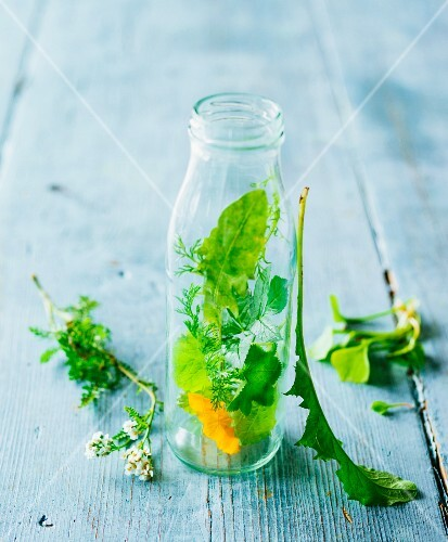 A picture representing green smoothies: fresh herbs and flowers in a glass bottle