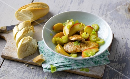Chicken escalope on an apple and celery medley