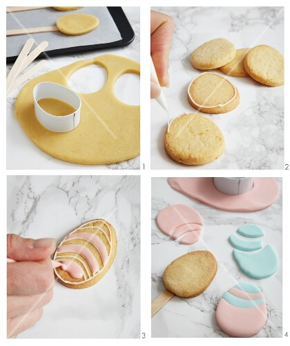 Egg-shaped biscuits being decorated