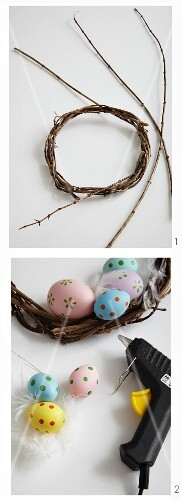 Decorating a willow wreath with colourful Easter eggs