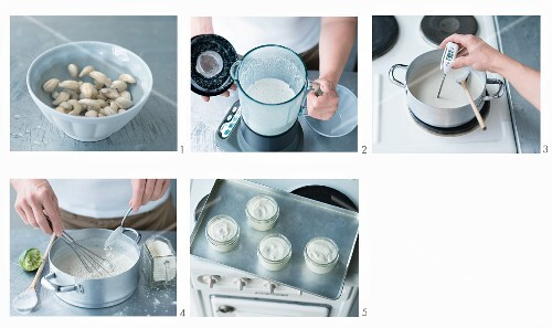Vegan cashew nut and coconut yoghurt being made