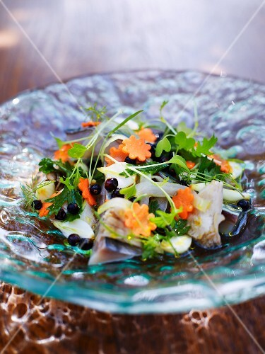 Marinated mackerel with vegetables and herbs