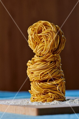 A stack of three noodle nests