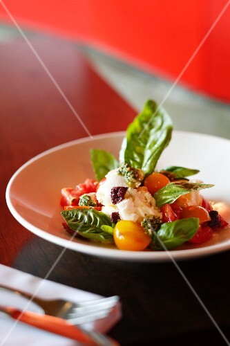 Caprese salad from a restaurant in James Street, Brisbane