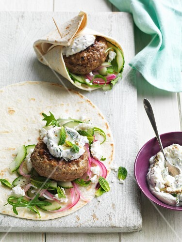 Wraps with lamb meatball, cucumber, mint and tzatziki