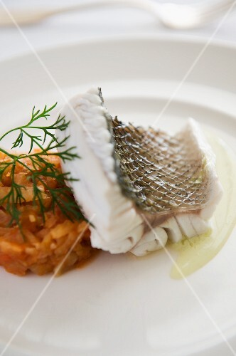 Steamed cod with a carrot and vegetables timbale
