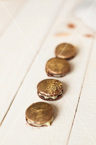 Macaroons with golden powder