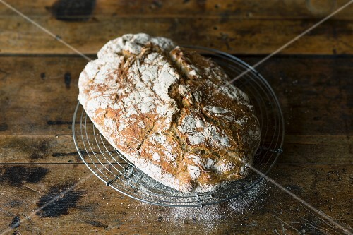 A loaf of homemade, no-knead, country bread