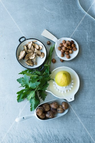 Ingredients for chestnut and porcini mushroom spread with lemon and parsley