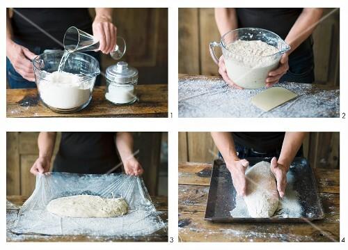 No knead ciabatta being made