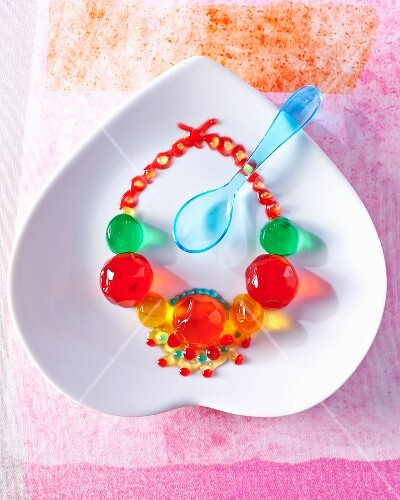 A necklace made from colourful jelly beads