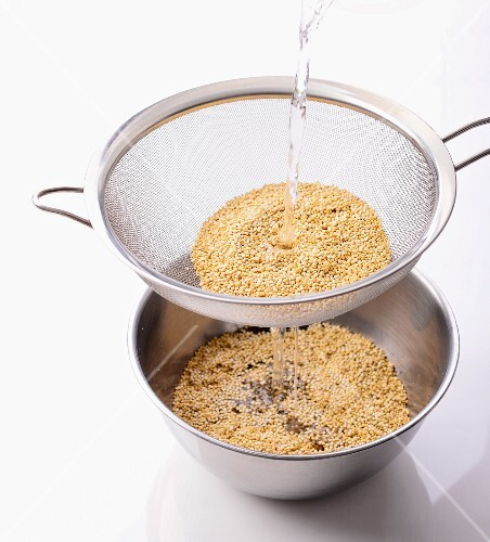 Quinoa being washed
