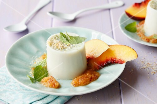 Coconut panna cotta with peach relish