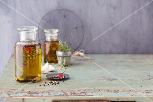 Homemade aromatic oil with red chillis