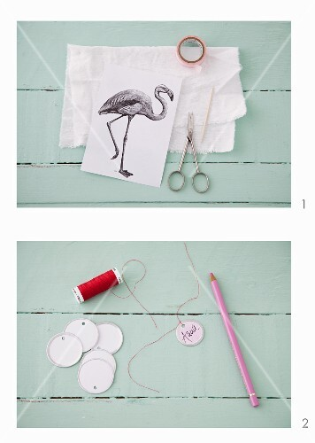 A bird motif and tags for decorating presents