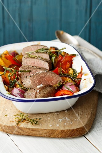 Noisette of lamb on a bed of oven-baked ratatouille