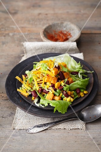 Sweet potato salad with kidney beans, green beans, sweetcorn and Cheddar cheese