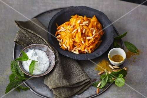 Oriental carrots with dried apricots and pine nuts