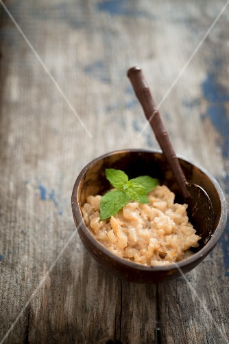 Rice pudding with coconut and mint (Caribbean)