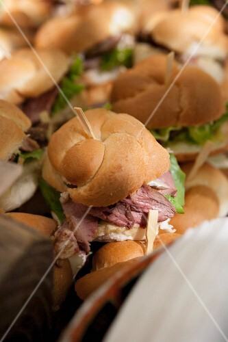 Roast beef rolls held together with sticks