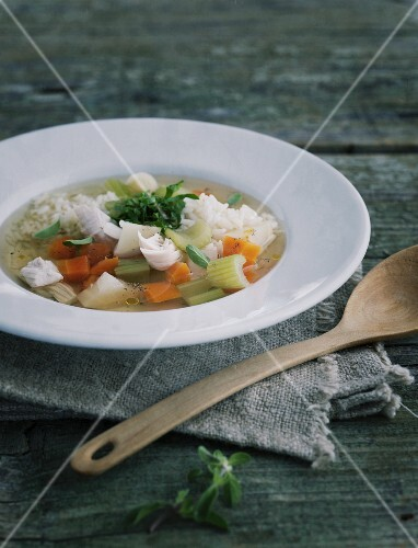 Chicken soup with root vegetables and rice