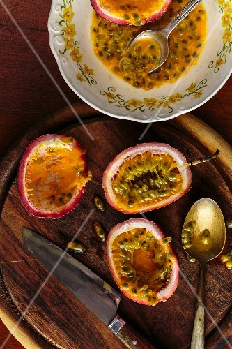Passion fruits on a wooden board