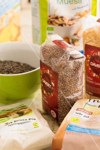 Various products such as lentils with the green 'Vegan' seal