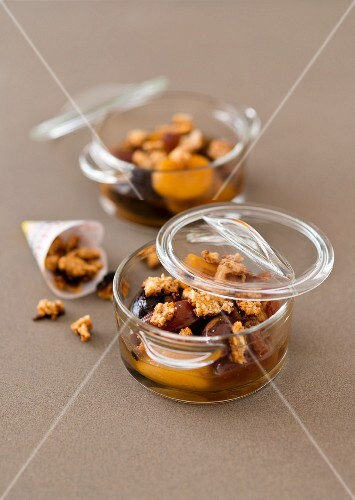 Dried fruit compote with biscuit crumbs