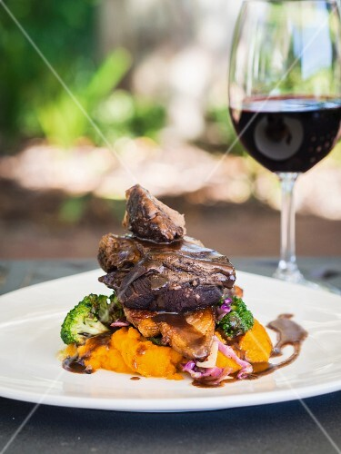 Lamb with mashed pumpkin and vegetables