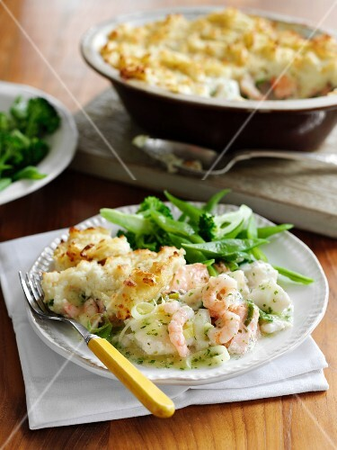 Fish pie with seafood and mashed potato topping