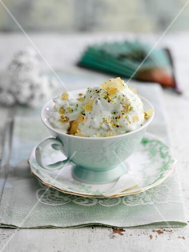 Pistachio ice cream with candied ginger