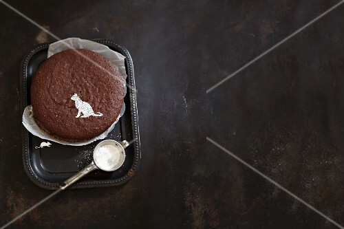 A 'cat and mouse' chocolate cake