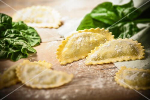 Fresh ravioli filled with ricotta and spinach