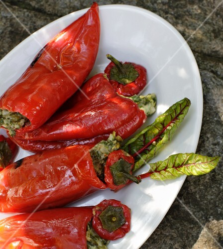 Stuffed red pointed peppers