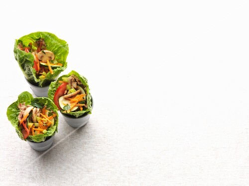 Vegan lettuce wraps with vegetables and sunflower seed cream