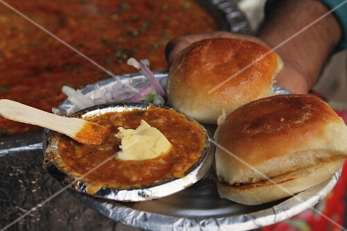 Pav bhaji - aromatic vegetable mix with toasted rolls from Mumbai