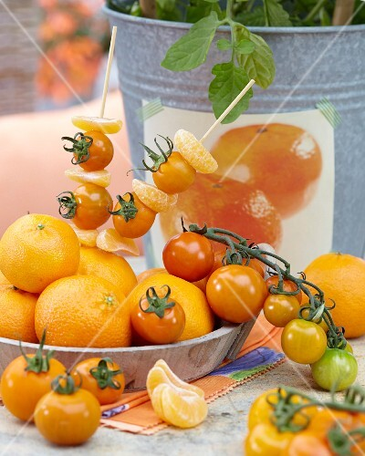 Mandarin and yellow tomato skewers