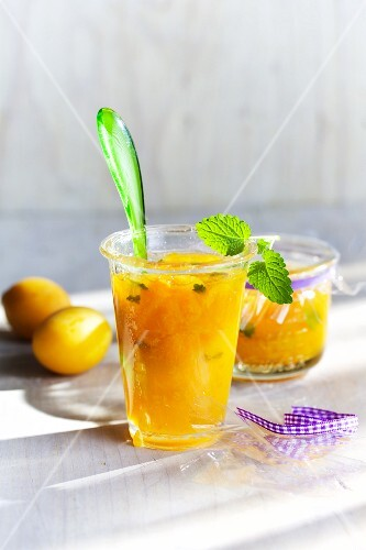 Apricot jam with lemon balm