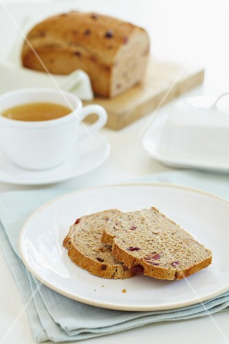 Spiced cherry bread with a cup of tea